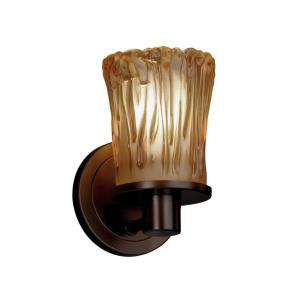 Veneto Luce Rondo - 1 Light Wall Sconce with Cylinder/Rippled Rim Amber Venetian Glass