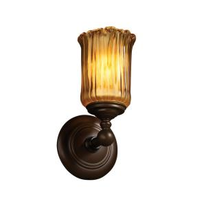 Veneto Luce Tradition - 1 Light Wall Sconce with Cylinder/Rippled Rim Amber Venetian Glass
