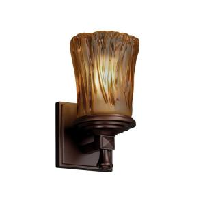 Veneto Luce Deco - 1 Light Wall Sconce with Cylinder/Rippled Rim Amber Venetian Glass