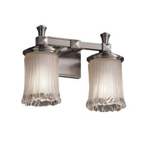 Veneto Luce Deco - 2 Light Bath Bar with Cylinder/Rippled Rim White Frosted Venetian Glass