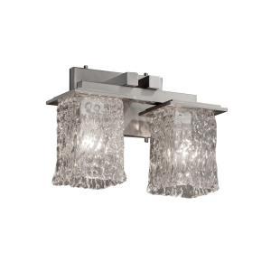 Veneto Luce Montana - 2 Light Bath Bar with Square/Rippled Rim Clear Textured Venetian Glass