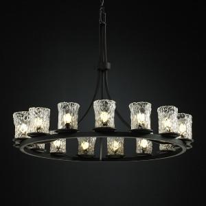 Veneto Luce Dakota - 15 Light Ring Chandelier with Cylinder/Rippled Rim Gold/Clear Rim Venetian Glass