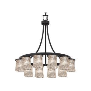 Veneto Luce Dakota - 12 Light Downlight Short Chandelier with Cylinder/Rippled Rim Clear Textured Venetian Glass