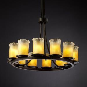 Veneto Luce Dakota - 12 Light Tall Ring Chandelier with Cylinder/Rippled Rim Gold/Clear Rim Venetian Glass