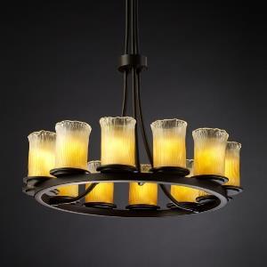 Veneto Luce Dakota - 12 Light Tall Ring Chandelier with Cylinder/Rippled Rim Amber Venetian Glass