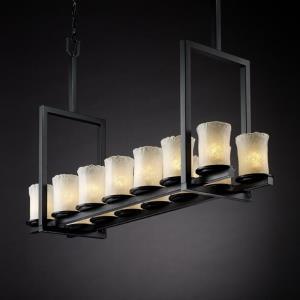 Veneto Luce Dakota - 14 Light Tall Bridge Chandelier with Cylinder/Rippled Rim Whitewash Venetian Glass