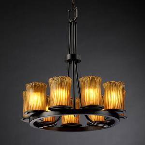 Veneto Luce Dakota - 9 Light Ring Chandelier with Cylinder/Rippled Rim Amber Venetian Glass