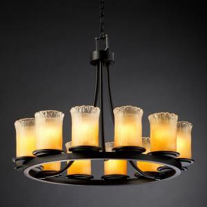 Veneto Luce Dakota - 12 Light Short Ring Chandelier with Cylinder/Rippled Rim Gold/Clear Rim Venetian Glass