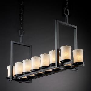 Veneto Luce Dakota - 14 Light Short Bridge Chandelier with Cylinder/Rippled Rim Whitewash Venetian Glass