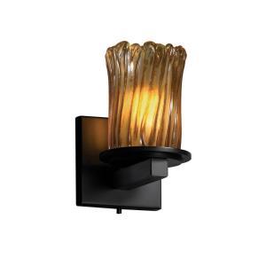 Veneto Luce Dakota - 1 Light Wall Sconce with Cylinder/Rippled Rim Amber Venetian Glass