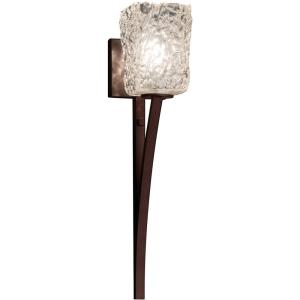 Veneto Luce Sabre - 1 Light Wall Sconce with Square/Rippled Rim Clear Textured Venetian Glass