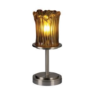 Veneto Luce Dakota - 1 Light Short Table Lamp with Cylinder/Rippled Rim Amber Venetian Glass