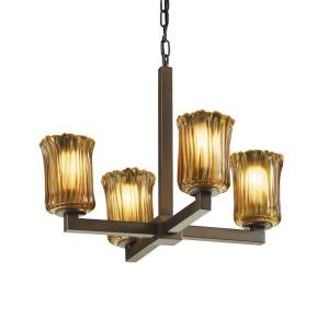 Veneto Luce Modular - 4 Light Chandelier with Cylinder/Rippled Rim Amber Venetian Glass