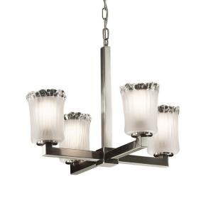 Veneto Luce Modular - 4 Light Chandelier with Cylinder/Rippled Rim White Frosted Venetian Glass