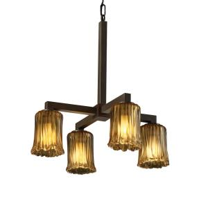 Veneto Luce Modular - 4 Light Downlight Chandelier with Cylinder/Rippled Rim Amber Venetian Glass