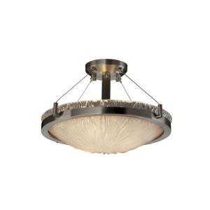 Veneto Luce Ring - 3 Light Semi-Flush Mount with Round Bowl White Frosted Venetian Glass