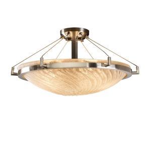 Veneto Luce Ring - 6 Light Semi-Flush Mount with Round Bowl Whitewash Venetian Glass