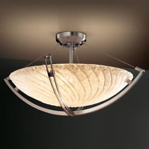 Veneto Luce Crossbar - 6 Light Semi-Flush Mount with Round Bowl Whitewash Venetian Glass