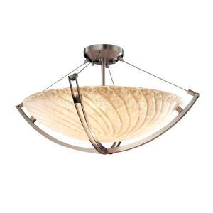 Veneto Luce Crossbar - 6 Light Pendant with Round Bowl Whitewash Venetian Glass