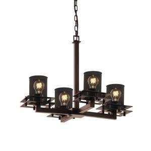Wire Mesh Metropolis - 4 Light Chandelier with Cylinder Flat Rim Wire Mesh Shades
