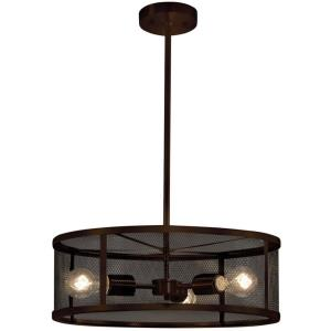 Wire Mesh - 3 Light Drum Pendant with Wire Mesh Shades