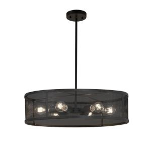 Wire Mesh - 6 Light Drum Pendant with Wire Mesh Shades