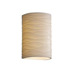 Porcelina - 12.5 Inch 13W 1 LED Large Cylinder Open Top and Bottom Outdoor Wall Sconce with Waves Faux Porcelain Shade