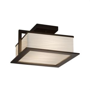 Porcelina Laguna - 12 Inch 22W 1 LED Outdoor Flush Mount Square with Waves Faux Porcelain Shade