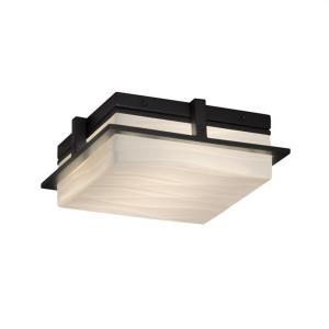Porcelina Avalon - 10 Inch 18W 1 LED Outdoor Flush Mount Square with Waves Faux Porcelain Shade