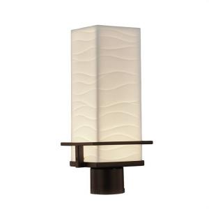 Porcelina Avalon - 16 Inch 9W 1 LED Outdoor Post Mount Rectangle with Waves Faux Porcelain Shade