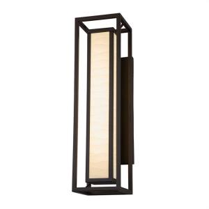 Porcelina Bayview - 24 Inch 18W 2 LED Outdoor Wall Sconce Rectangle with Waves Faux Porcelain Shade