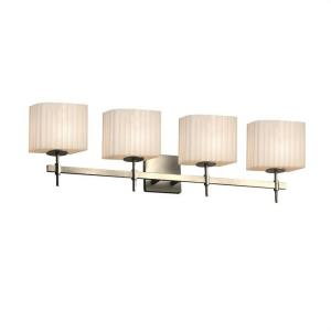 Porcelina Union - 4 Light Bath Bar Rectangle with Pleats Faux Porcelain Shade