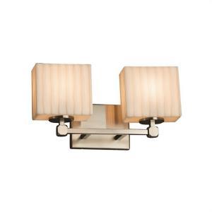 Porcelina Tetra - 2 Light Bath Bar Rectangle with Waterfall Faux Porcelain Shade