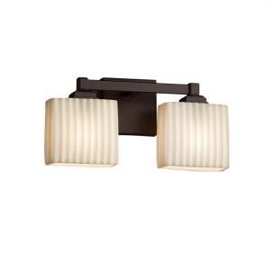 Porcelina Regency - 2 Light Bath Bar Rectangle with Pleats Faux Porcelain Shade