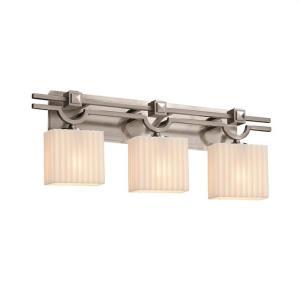 Porcelina Argyle - 3 Light Bath Bar Rectangle with Pleats Faux Porcelain Shade
