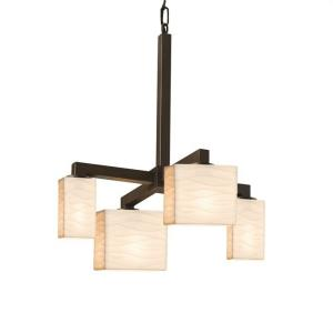 Porcelina Modular - 4 Light Downlight Chandelier Rectangle with Waves Faux Porcelain Shade