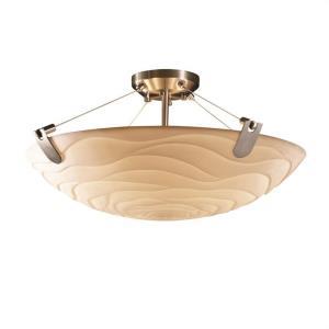 Porcelina U-Clips - 3 Light Semi-Flush Mount Round Bowl with Waves Faux Porcelain Shade