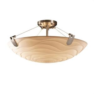 Porcelina U-Clips - 6 Light Semi-Flush Mount Round Bowl with Waves Faux Porcelain Shade