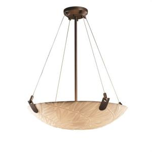 Porcelina U-Clips - 6 Light Pendant Round Bowl with Bamboo Faux Porcelain Shade