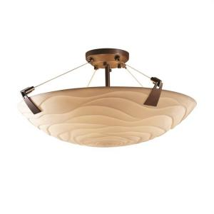 Porcelina Tapered Clips - 3 Light Semi-Flush Mount Round Bowl with Waves Faux Porcelain Shade