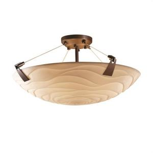 Porcelina Tapered Clips - 6 Light Semi-Flush Mount Round Bowl with Waves Faux Porcelain Shade