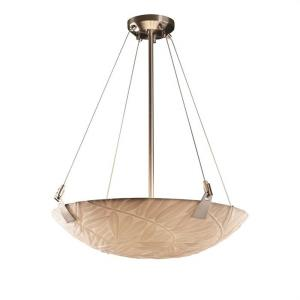 Porcelina Tapered Clips - 6 Light Pendant Round Bowl with Bamboo Faux Porcelain Shade