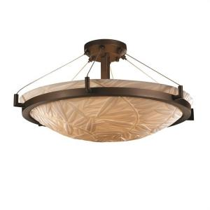 Porcelina Ring - 6 Light Semi-Flush Mount Round Bowl with Bamboo Faux Porcelain Shade
