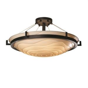 Porcelina Ring - 6 Light Semi-Flush Mount Round Bowl with Waves Faux Porcelain Shade
