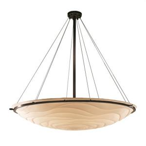 Porcelina Ring - 12 Light Pendant Round Bowl with Waves Faux Porcelain Shade