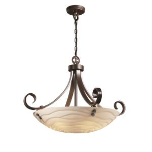 Porcelina - Scrolls with Finials 31 Inch Pendant Bowl