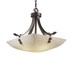 Porcelina - Flat Bars with Finials 3-Light 24 Inch Pendant Bowl