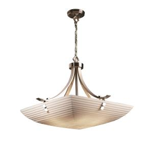 Porcelina - Flat Bars with Finials 30 Inch Pendant Bowl