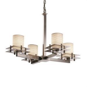 Limoges Metropolis - 4 Light Chandelier with Waves Flat Rim Cylinder Shade