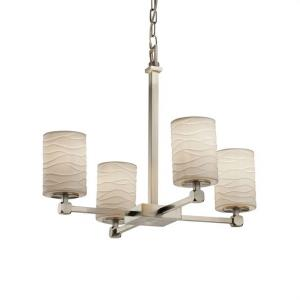 Limoges Tetra - 4 Light Chandelier with Waves Flat Rim Cylinder Shade